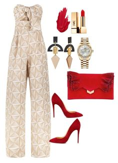 """Untitled"" by tjwstyleconsultant on Polyvore featuring Johanna Ortiz, Christian Louboutin, Jimmy Choo, Toolally, Rolex and Yves Saint Laurent"