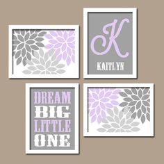 Girl Floral Flower Burst Lilac Purple Lavender Gray Dream Big Monogram Set of 4 Prints WALL Baby Decor ART Crib NURSERY Child on Etsy, $35.00