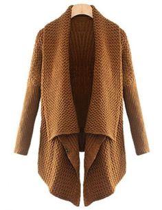 Brown Batwing Long Sleeve Loose Cardigan