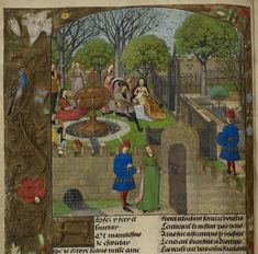 visit the Garden of Pleasure in a C15th copy of Roman de la Rose, Harley MS 4425 f. 12v