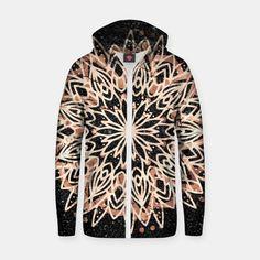 Metallic Mandala Cotton zip up hoodie, Live Heroes Black Marble Background, Zip Ups, Mandala, Metallic, Hoodies, Live, Stylish, Cotton, Fashion