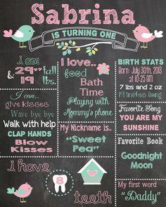 First Birthday Chalkboard Printable Poster bird theme / Baby Girl / 1st Birthday .pdf or .jpeg