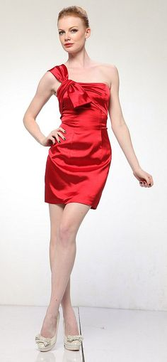 Short Cocktail Dress Red One Shoulder Twisted Bow Dress Above Knee (3 Colors Available)