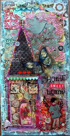 Fabulous mixed media on canvas - love the layers and textures and colors!