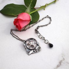 Vintage Crystal Button Necklace Sterling Silver Floral by AdobeSol
