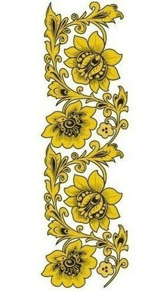 Folk Khokhloma painting from Russia. A floral pattern in black and golden colours. #art #folk #painting #Russian