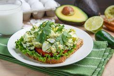 Creamy Avocado/Guacamole Egg Salad Sandwich - add a few strips of crispy bacon and go WOW