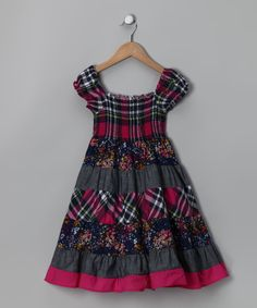 Navy & Fuchsia Plaid Peasant Dress--- Love these colors