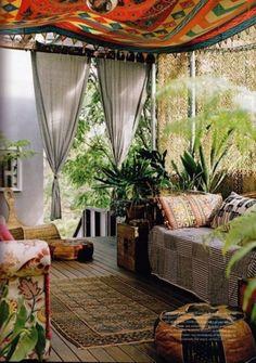 boho style for verandas closed porches , patios or conservatories outdoor space Bohemian Patio, Bohemian Interior, Bohemian Living, Bohemian Art, Bohemian Style, Bohemian Tapestry, Bohemian Design, Gypsy Style, Bohemian Studio