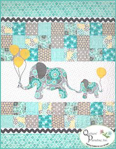 Mommy & Me Quilt Kit - Aqua/Gray quilt kit at Quilter's Paradise