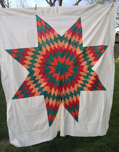 Vintage Quilt Top Lone Star Hand Stitched Green by AStringorTwo