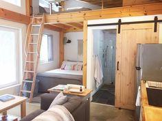 Modern Tiny House, Tiny House Cabin, Tiny House Living, Tiny House Layout, Tiny House Design, House Layouts, Tiny House Furniture, Pipe Furniture, Furniture Design