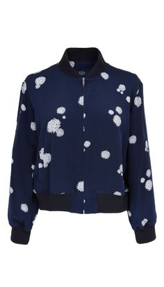 Splatters of dots lend a refresh to Tibi's Cluster Dot Print Cropped Bomber, a basic component of a transitional weather wardrobe. Always Cold, Cute Jackets, Spring Jackets, Fashion Colours, Lightweight Jacket, Star Fashion, Get Dressed, Spring Summer Fashion, Nice Dresses