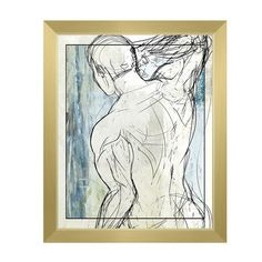 """Click Wall Art 'Man on Sky' Framed Print of Painting Size: 26.5"""" H x 22.5"""" W x 1"""" D, Frame Color: Gold"""