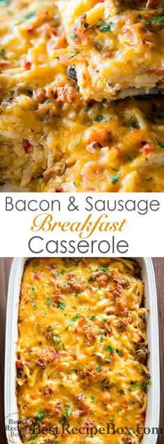 Easy hash brown breakfast casserole recipe is simple with bacon and sausage. Perfect breakfast recipe for hash brown casserole. Healthy Breakfast Casserole, Sausage Breakfast, Breakfast Dishes, Eat Breakfast, Breakfast Recipes, Breakfast Burritos, Breakfast Crockpot, Breakfast Cassarole, Breakfast Potatoes