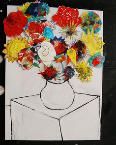 Vase of Flowers inspired by Galla Serifin. Each child creates a large painting or collage of a flower head - based on an observational drawing - arrange these as a bouquet in a vase for a single collaborative artwork.