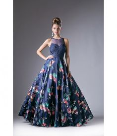 Navy Blue & Floral Sheer Illusion Gown  for Prom 2017