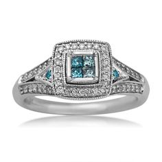 Ladies Treated Blue Quad Engagement Ring