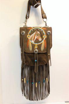 suede embroidered shoulder bag