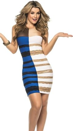 The Great Dress Debate Of 2015 Has Been Turned Into A Sexy Halloween Costume Halloween Costume Teenage Girl, Costumes Sexy Halloween, Buy Costumes, Costumes 2015, Funny Halloween, Fall Halloween, Gold Dress, Dress Up, White Dress