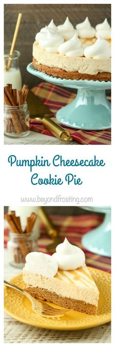 This Pumpkin Cheesecake Cookie Pie is a layer of soft-baked pumpkin cookie topped with a simple pumpkin cheesecake filling. To finish this off there's a little more whipped cream and some caramel topping.