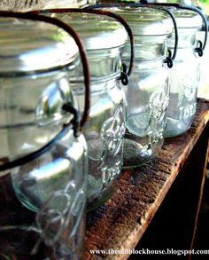 Blue Glass Canning Jars- I have a bunch of these antique blue glass jars in my witchy kitchen!