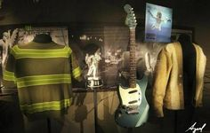 """Rarely displayed memorabilia including iconic clothing & musical instruments of late Kurt Cobain of legendary grunge band Nirvana, are on display at the """"Nirvana: Taking Punk to the Masses"""" exhibition of the Experience Music Project (EMP) in Seattle on April 15, 2011."""