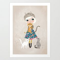 Cat Lover Art Print by Drawnbyrebeccajones