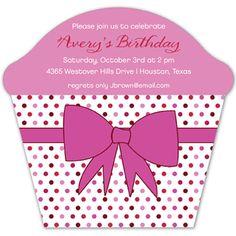 Pink Bow Cupcake Invitation