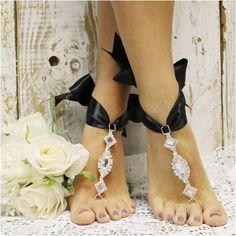 barefoot sandals - wedding - beach - foot jewelry - pearls - rhinestones - beaded