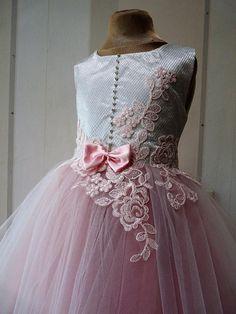 ALISA Ivory Satin Silver Tulle Flower Girl Dress Wedding