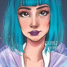 #girk #blue #hair #makeup #model #style #fashion #watercolor #illustration…