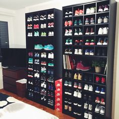 This but streamlined ie fuck off anybother furnishings but ottoman poof stool in centre of room & ensure cabinetry flush ie no gaps either side (measure prior to blueprints) otherwise looks cheap n nasty. My new IKEA shelves. Sneaker Rack, Sneaker Storage, Shoe Shelves, Ikea Shelves, Diy Shelving, Shoe Room, Shoe Closet, Closet Storage, Closet Organization