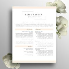 Creative Resume Template Word Instant Download, Feminine Design, Elegant Resume CV, Modern CV, Professional Cover Letter A4 US Letter, Elise