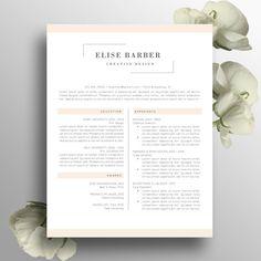 Creative Resume Template Word Instant Download, Feminine Design, Elegant Resume CV, Modern CV, Professional Cover Letter A4 US Letter, Elise