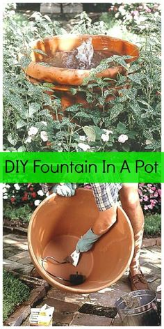 DIY Fountain In A Pot ~ I have a easy project today that would be great for the garden or patio – a DIY Fountain In A Pot!