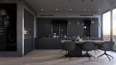 Modern LED lights for Modern Life Dining Room Design, Kitchen Design, Kitchen Ideas, Light Wooden Floor, Grey Dining Tables, Neoclassical Interior, Narrow Living Room, Blog Deco, Black Kitchens