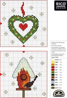 heart wreath and snowy birdhouse - christmas cross stitch patterns
