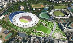 Image 5 of 12 from gallery of Finalists announced for Japan's New National Stadium. Mitsuru Man Senda and Environment Design Institute Entry - Courtesy of Japan Sport Council Tadao Ando, Norman Foster, Archdaily Mexico, Stadium Architecture, Modern Architecture, National Stadium, Toyo Ito, Sports Complex, Zaha Hadid Architects