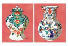Coral Fourmaintraux Vases, Set of 2