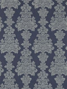 Katarina (312001) - Zoffany Wallpapers - A modern interpretation of a classic leaf medallion damask in vertical columns.  Created with a textured background. Shown in the dark Ink blue colourway – other colours available. Wide width. Please request sample for true colour and texture.