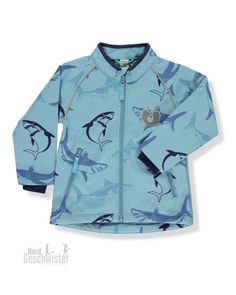 Smafolk Jungen Softshell Jacke Himmelblau mit Haien