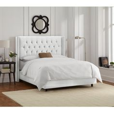 Shop for Skyline Furniture White Velvet Diamond Tufted Wingback Nail Bed. Get free shipping at Overstock.com - Your Online Furniture Outlet Store! Get 5% in rewards with Club O!