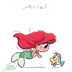Chibies of Disney's Ariel & Flounder , Merida & Will O' the Wisp , Anna & Snowgie. https://www.facebook.com/artofdavidgilson/