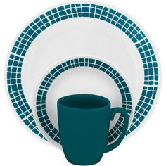 Gibson Everyday Ocean Oasis 16-Piece Dinnerware Set, Turquoise ...