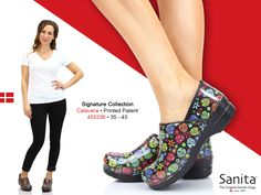 Add some pops of color and style with this killer new shoes from Sanita! Featuring a fun Sugar Skull print on an easy care patent leather, this clog will make your walking more fun with the same comfort that Sanita always proivde. #MySanita #Skulls #Clogs #Shoes #Fashion #Footwear #Comfort #Style #Sugarskull #DiaDeLosMuertos #New #Leather #Shoes #Fashion #Comodidad #Legs #Zapatos #estilo #Nurse #Nurses #Chefs #Chef #Spring #Summer #Lifestyle