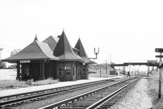 Black and white negative showing Whitby Junction Station. View looking east. The Brock St. bridge is visible in the background. Old Train Station, Train Stations, Old Steam Train, Urban Sketching, Steam Locomotive, Model Trains, Small Towns, Railroad Tracks, Ontario