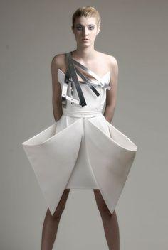 Sculptural Fashion - origami dress with crisp folds for an angular draped silhouette; creative fashion // Charlotta Mattsson