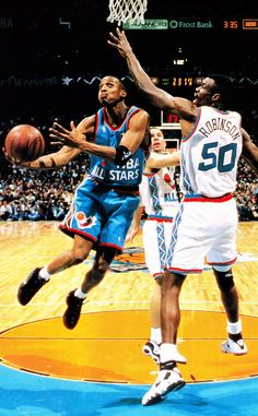 Penny Drives Past Kidd And To Robinson, '96 All Star Game.