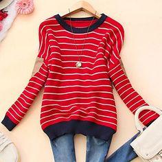 Women's Round Collar Fashion Stripe Long Sleeve Sweater - USD $ 23.99